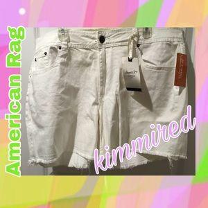 🆕American Rag White Frayed Hem Shirts ~ 20 ~ NWF